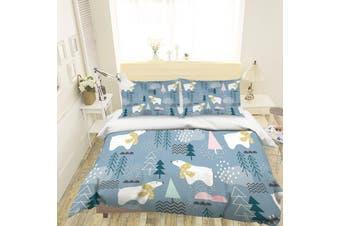 3D Cartoon Bear Pine Quilt Cover Set Bedding Set Pillowcases 101-King