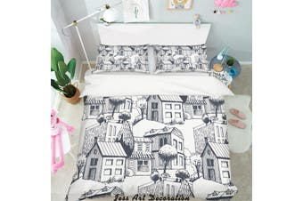3D Simple Line Drawing City Quilt Cover Set Bedding Set Pillowcases  5-Double