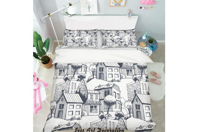 3D Simple Line Drawing City Quilt Cover Set Bedding Set Pillowcases  5-Queen