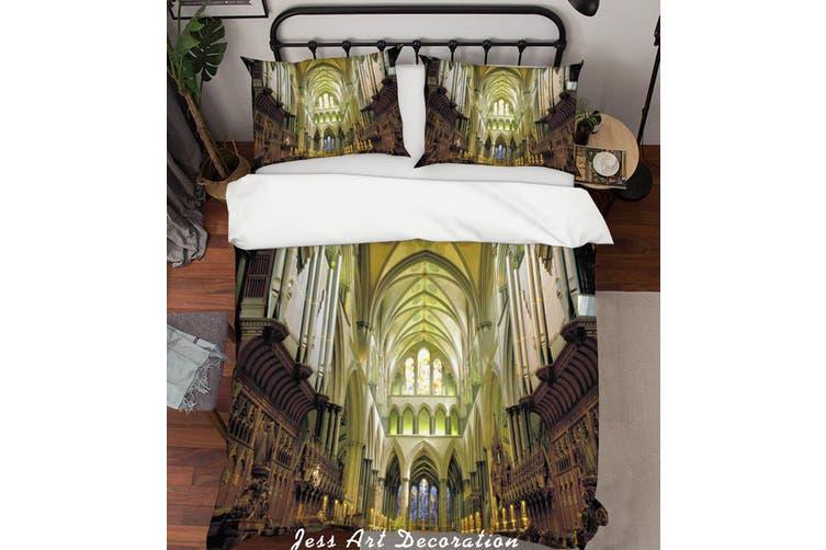 3D European Churches Quilt Cover Set Bedding Set Pillowcases  1-Double