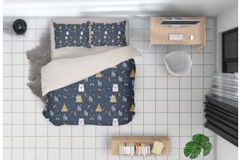 3D Cartoon Pine Bear Quilt Cover Set Bedding Set Pillowcases 83-Single
