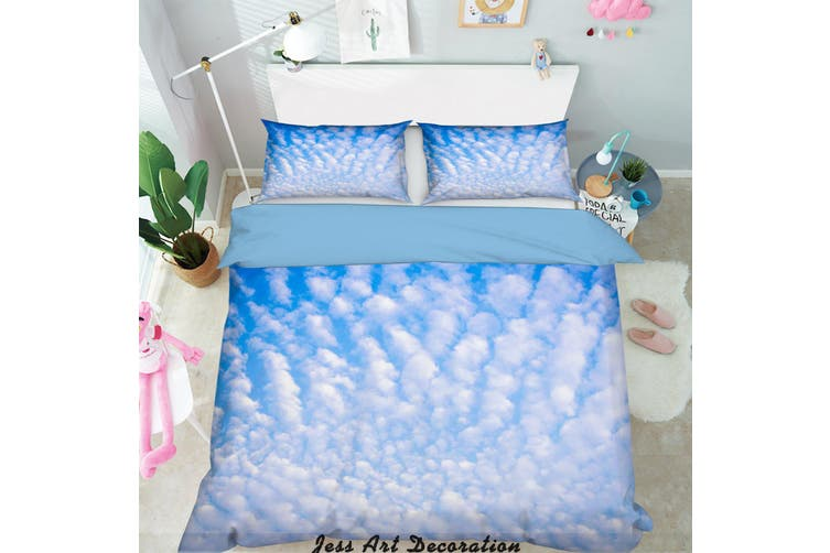 3D Blue Sky White Clouds Quilt Cover Set Bedding Set Pillowcases  6-King