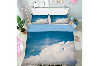 3D Blue Sky White Clouds Quilt Cover Set Bedding Set Pillowcases  5-Double
