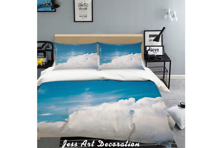 3D Blue Sky White Clouds Quilt Cover Set Bedding Set Pillowcases  5-Queen