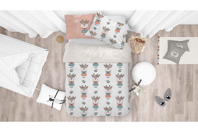 3D Elk Deer Quilt Cover Set Bedding Set Pillowcases 85-Queen