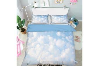 3D Blue Sky White Clouds Quilt Cover Set Bedding Set Pillowcases  2-Queen