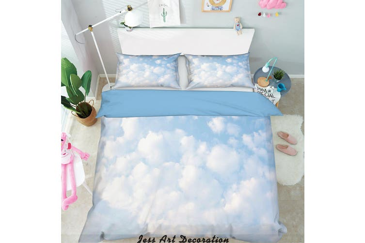 3D Blue Sky White Clouds Quilt Cover Set Bedding Set Pillowcases  2-King