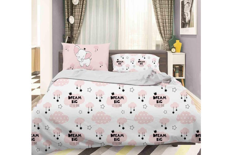 3D Pink Elephant Clouds Star Quilt Cover Set Bedding Set Pillowcases 84-Single