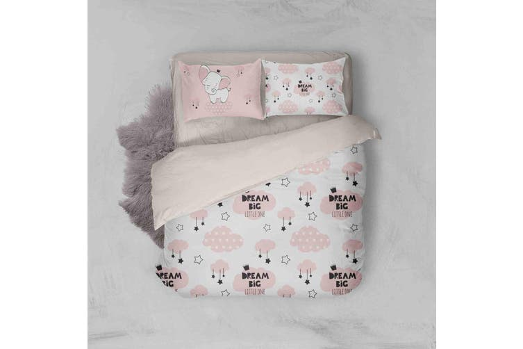 3D Pink Elephant Clouds Star Quilt Cover Set Bedding Set Pillowcases 84-Double