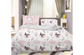 3D Pink Elephant Clouds Star Quilt Cover Set Bedding Set Pillowcases 84-Queen