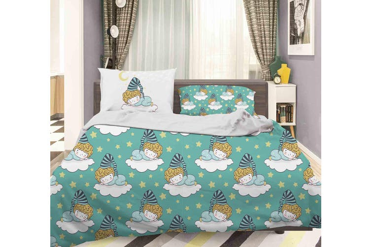 3D Green Baby Boy Clouds Star Sleep Quilt Cover Set Bedding Set Pillowcases 83-Queen