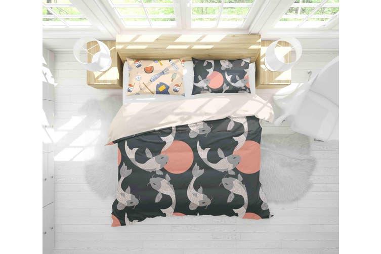 3D Black Carp Fish Circle Quilt Cover Set Bedding Set Pillowcases 81-Single