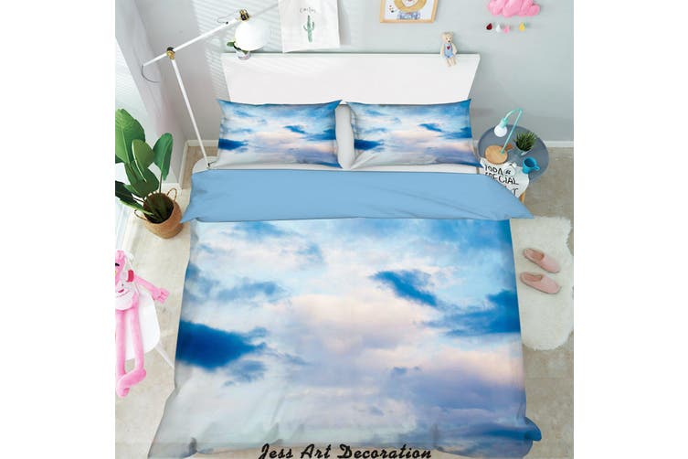 3D Blue Sky White Clouds Quilt Cover Set Bedding Set Pillowcases  1-Single