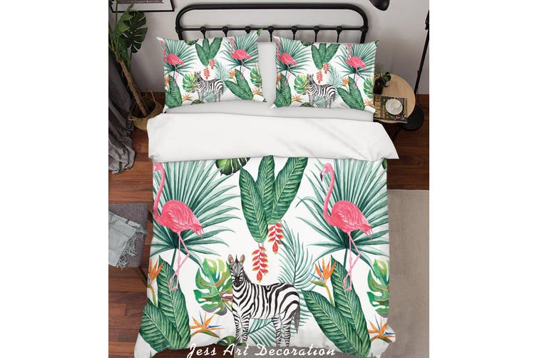 3D Green Tropical Plant Animals Quilt Cover Set Bedding Set Pillowcases  84-Single