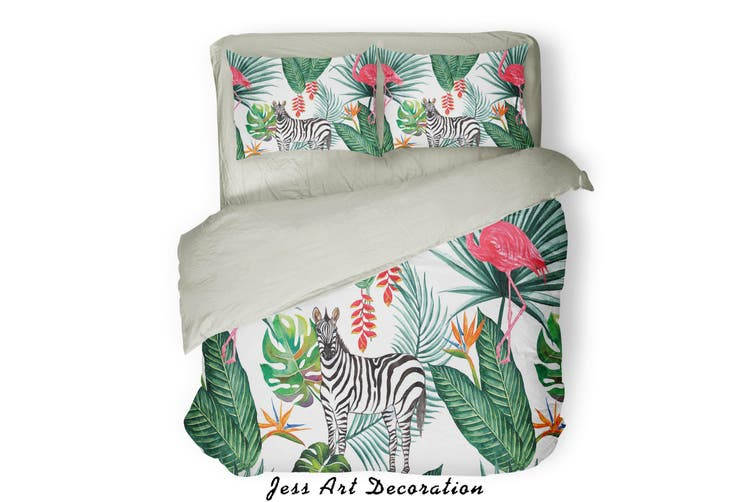 3D Green Tropical Plant Animals Quilt Cover Set Bedding Set Pillowcases  84-King