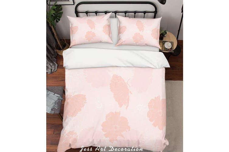3D Pink Background Quilt Cover Set Bedding Set Pillowcases  83-King