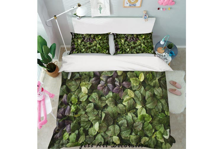 3D Green Leaves Quilt Cover Set Bedding Set Pillowcases 99-Single