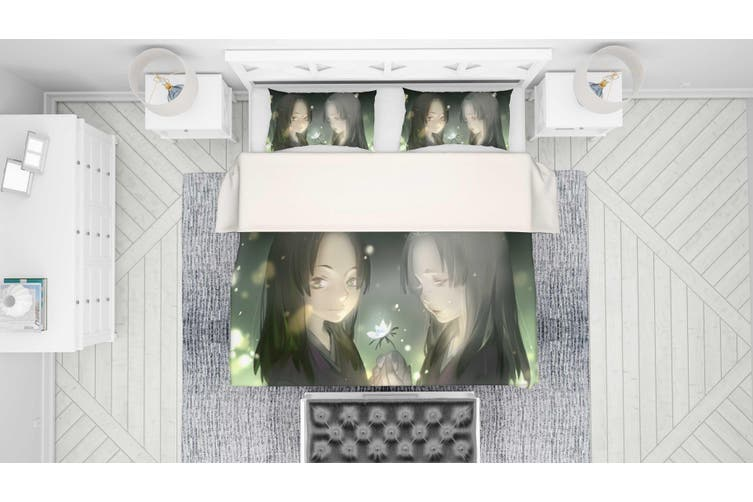 3D Mushishi Anime Quilt Cover Set Bedding Set Pillowcases 138-Queen