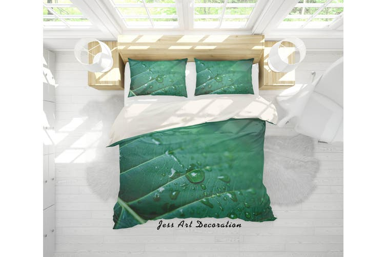 3D Green Leaves Raindrop Quilt Cover Set Bedding Set Pillowcases 92-Queen