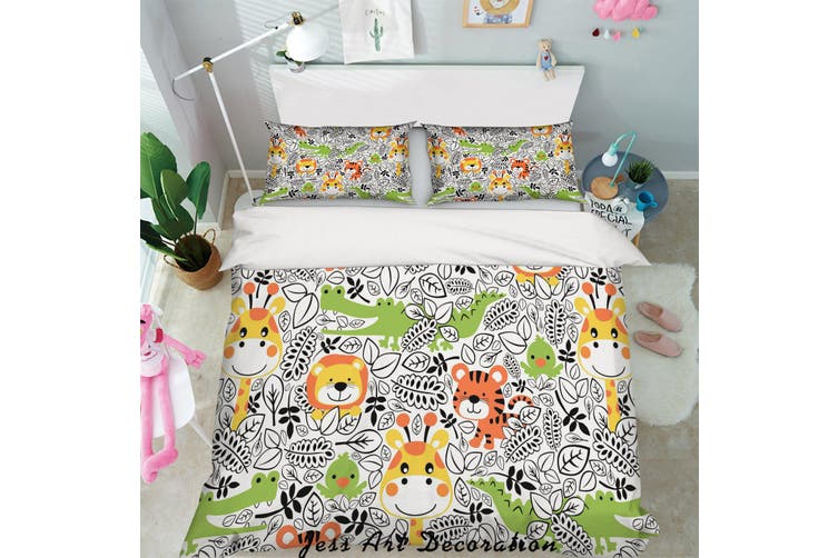 3D Cartoon Forest Animals Quilt Cover Set Bedding Set Pillowcases 91-King