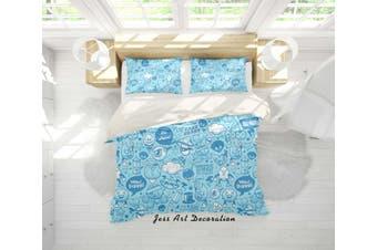 3D Blue Cartoon Pattern Quilt Cover Set Bedding Set Pillowcases 90-King