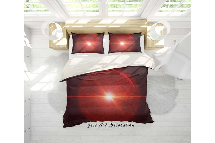 3D Red Sun Quilt Cover Set Bedding Set Pillowcases 89-Double