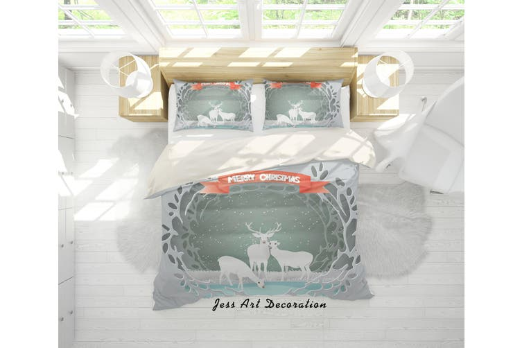3D Snow Elk Quilt Cover Set Bedding Set Pillowcases 88-King