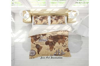 3D Retro World Map Quilt Cover Set Bedding Set Pillowcases 86-King