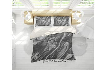 3D Grey Sea Wave Marble Quilt Cover Set Bedding Set Pillowcases 54-Single