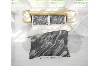 3D Grey Sea Wave Marble Quilt Cover Set Bedding Set Pillowcases 54-Double