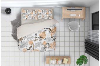 3D Grey Leaf Leopard Quilt Cover Set Bedding Set Pillowcases 64-Single