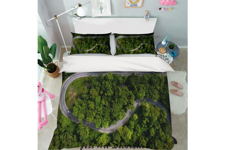 3D Aerial Photography Forest Highway Quilt Cover Set Bedding Set Pillowcases 23-Double