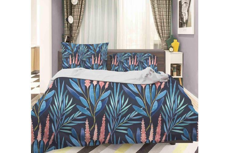 3D Blue Flower Quilt Cover Set Bedding Set Pillowcases 77-Queen