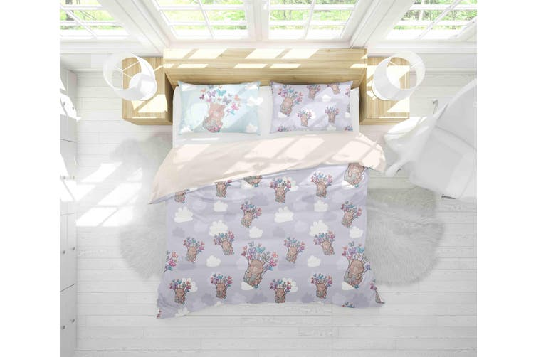 3D Bear Butterfly Clouds Quilt Cover Set Bedding Set Pillowcases 36-Double