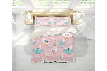 3D White Cartoon Ducks Quilt Cover Set Bedding Set Pillowcases 21-Single