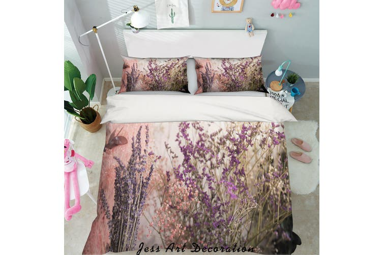 3D Purple Lavender Quilt Cover Set Bedding Set Pillowcases 20-Double