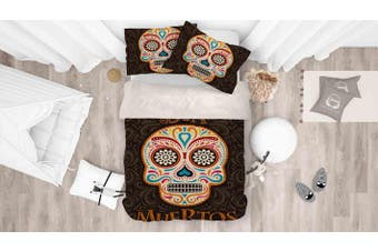 3D Colored Skull Quilt Cover Set Bedding Set Pillowcases 69-Queen
