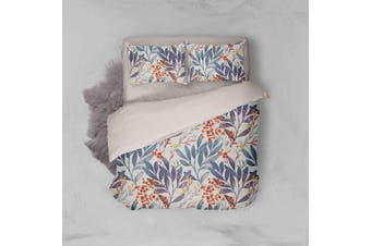3D Blue Leaves Red Flowers Quilt Cover Set Bedding Set Pillowcases 68-Queen