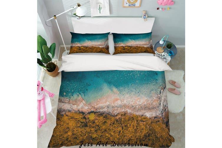 3D Blue Sea Rock Quilt Cover Set Bedding Set Pillowcases 17-Single