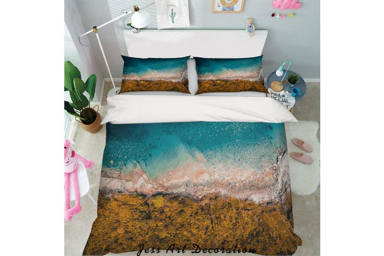3D Blue Sea Rock Quilt Cover Set Bedding Set Pillowcases 17-Double