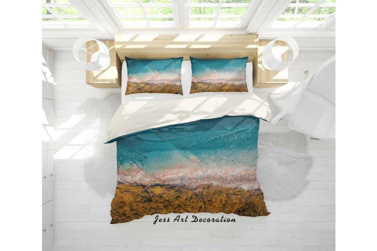 3D Blue Sea Rock Quilt Cover Set Bedding Set Pillowcases 17-Queen