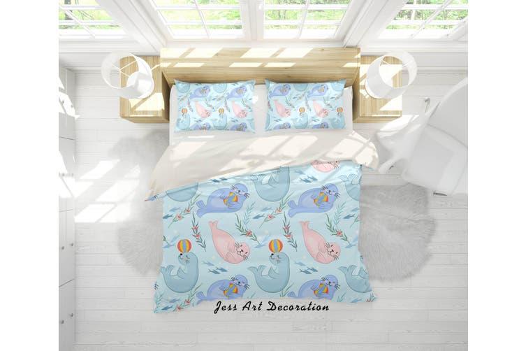 3D Cartoon Sea Lion Quilt Cover Set Bedding Set Pillowcases 16-Single