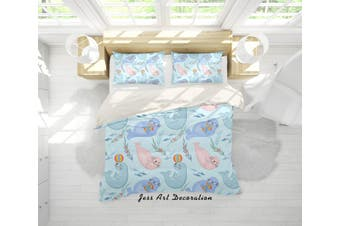 3D Cartoon Sea Lion Quilt Cover Set Bedding Set Pillowcases 16-Double