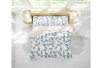 3D Grey Leaves Quilt Cover Set Bedding Set Pillowcases 55-Single