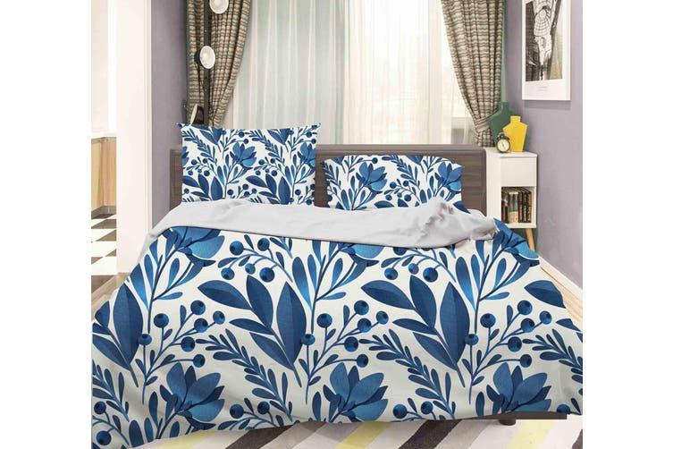 3D Blue Leaves Quilt Cover Set Bedding Set Pillowcases 54-Queen