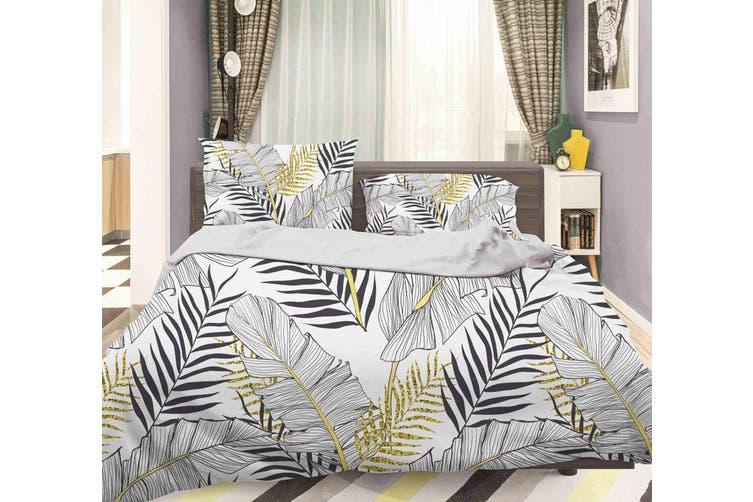 3D Grey Leaves Quilt Cover Set Bedding Set Pillowcases 53-Single