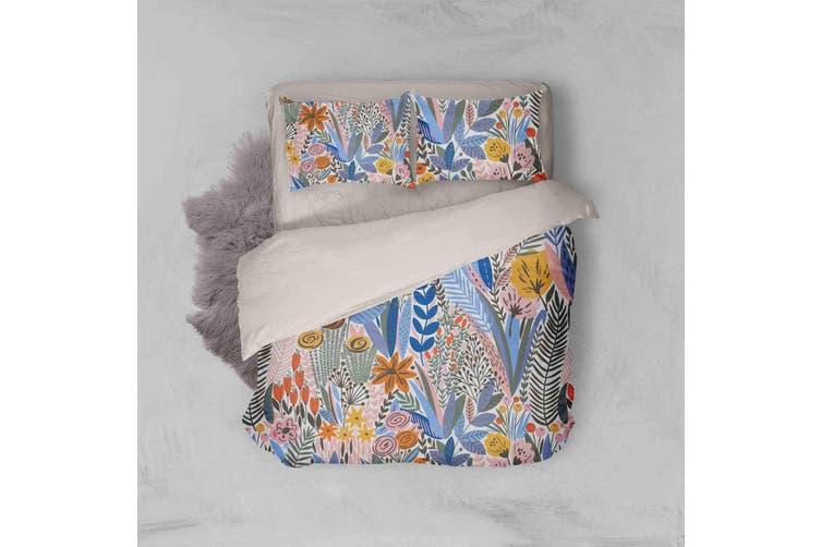 3D Blue Leaves Red Flowers Quilt Cover Set Bedding Set Pillowcases 51-Single