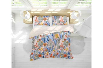 3D Blue Leaves Red Flowers Quilt Cover Set Bedding Set Pillowcases 51-King