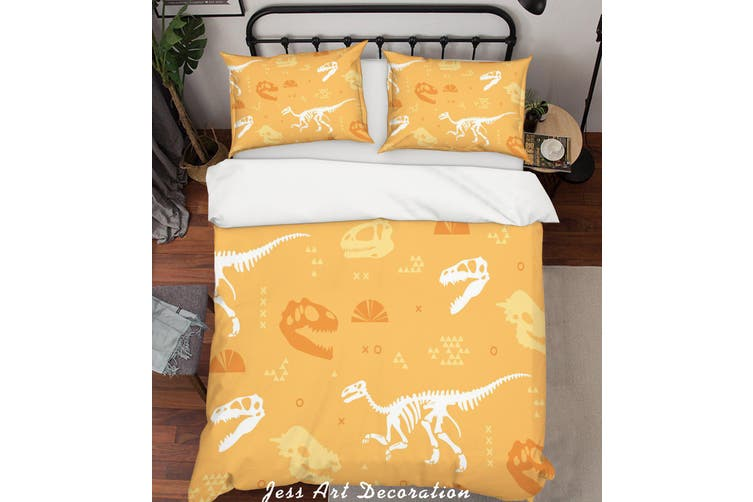 3D Dinosaur Skeleton Pattern Quilt Cover Set Bedding Set Pillowcases  75-Queen