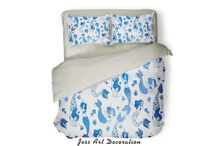 3D Blue Mermaid Pattern Quilt Cover Set Bedding Set Pillowcases  74-Double